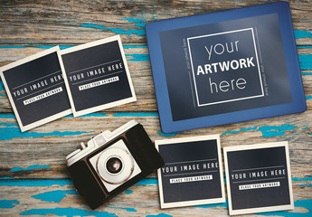 Vintage Camera, Blue Tablet, and 4 Square Photographs Mockup