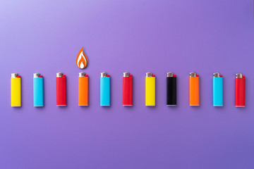 Multiple colorful lighters