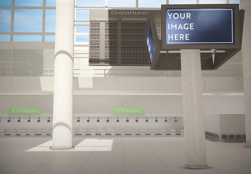 Airport Terminal with Digital Signs Mockup