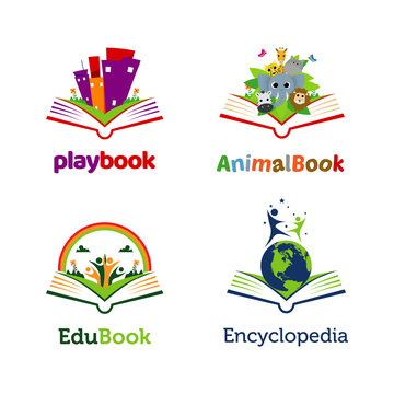 Playful Book Open Logo Template Collection