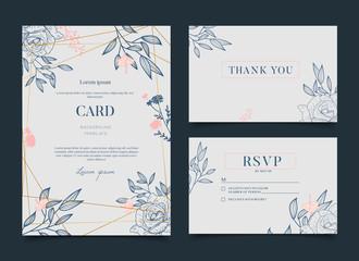 Simple Romantic Floral Celebration Wedding Card Invitation
