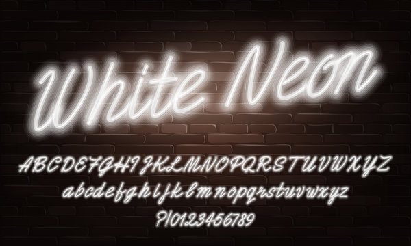 White Neon script alphabet font. Neon color lowercase and uppercase bright letters and numbers. Stock vector typescript for your typography design.