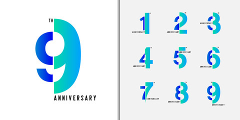 Set of anniversary logotype. Modern colorful anniversary celebration icons design for company profile, booklet, leaflet, magazine, brochure poster, web, invitation or greeting card.