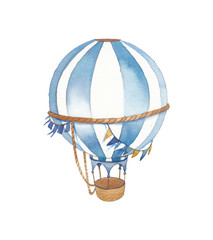 Watercolor festive illustration. Hand painted vintage flags garlands, hot air balloon isolated on white background. Baby boy greeting card