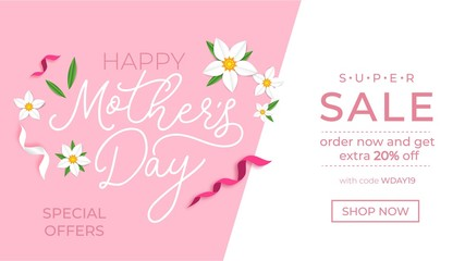 Mother's day promotion banner design template. Mother's day sale concept with ribbons and flowers. Vector illustration