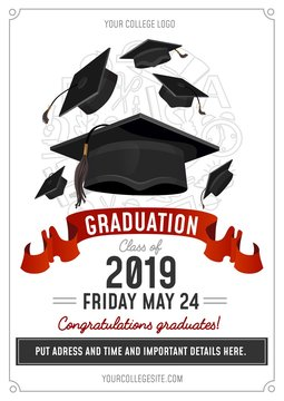 Graduation Class of 2019 greeting card or invitation design with flying hats and decorative elements. Congratulations graduates template. Vector illustration