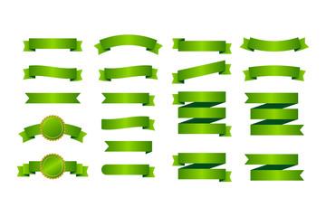 Green ribbons banners. Set of ribbons. Vector illustration.