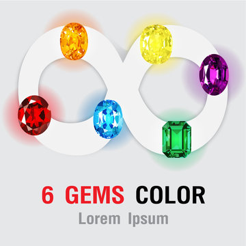 6 Gems on infinity symbol isolated. Vector illustration