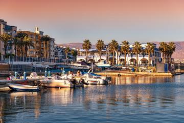 View of picturesque Roquetas de Mar harbor in southern Spain. Fotomurales