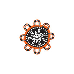 Aboriginal art logo design icon vector template