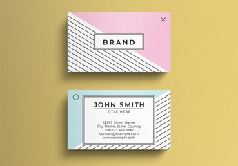 Simple Pastel Business Card Layout with Pattern Accents