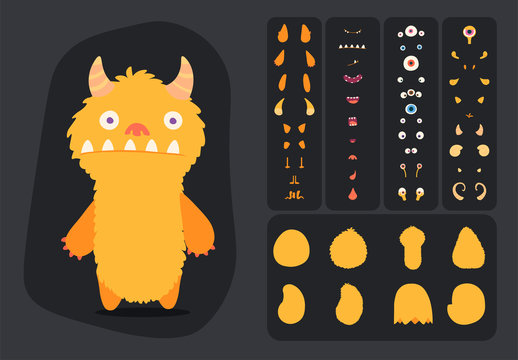 Cute cartoon monster creation kit, construction elements and body parts for building creatures for kids toys, video games and halloween designs