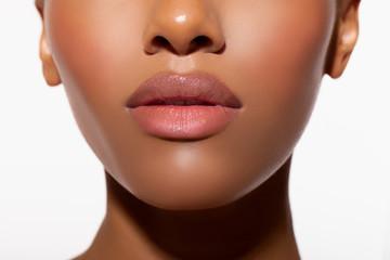 sexy big lips. pink lips closeup. beauty makeup, natural peach lips - Image .