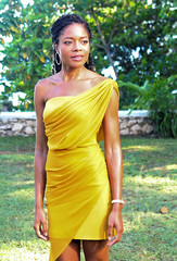"""Actor Naomie Harris poses for a picture during a photocall for the British spy franchise's 25th film set for release next year, titled """"Bond 25"""" in Oracabessa"""