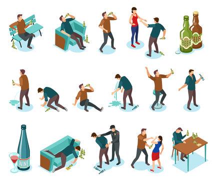 Alcoholism Isometric Icons Set