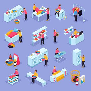 Laundry Isometric Icons