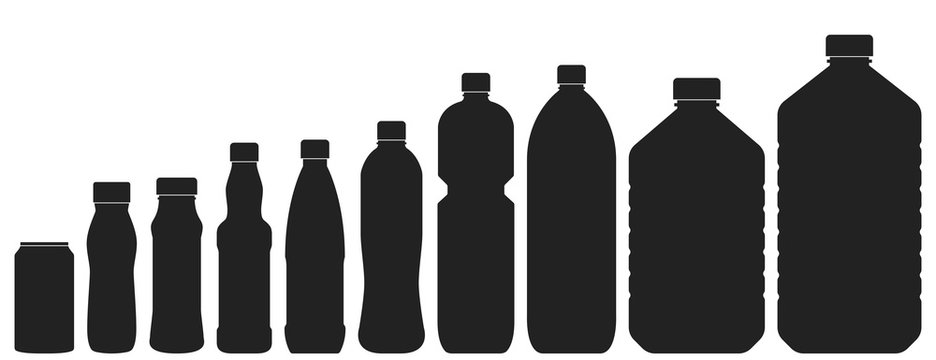 Plastic bottles of various sizes. Set of vector illustrations. Black silhouettes isolated on white background. Contours of bottles for water, lemonade or beer.