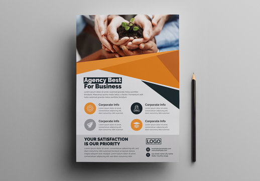Corporate Flyer Layout with Graphic Elements and Orange Accents