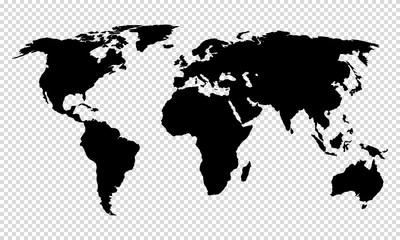 map of world on transparent background Wall mural
