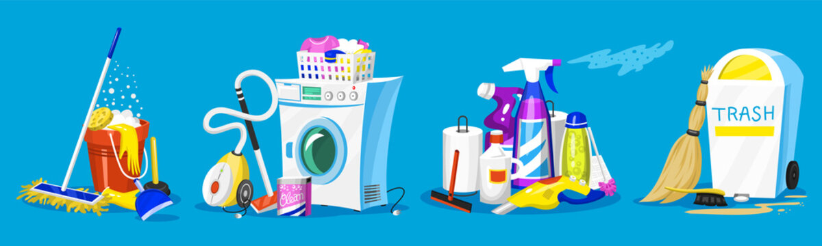 Cleaning tools. Set of House icons for poster. Washing machine, Detergents Cleanser for apartments, Water bucket for Mopping, Vacuum cleaner Scoop, Chemicals Appliances for service. Cartoon Household.