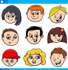 kids or teenagers cartoon characters set