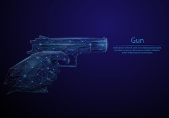 Abstract image of a Gun in hand in the form of a starry sky or space, consisting of points, lines, and shapes in the form of planets, stars and the universe. Low poly vector background.