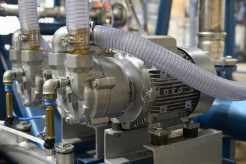 Vacuum unit with pumps, electric motors and other equipment