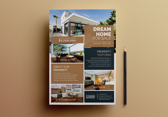 Real Estate Flyer Layout with Brown Accents
