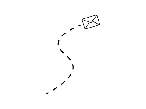 Vector illustration of sending message with trajectory