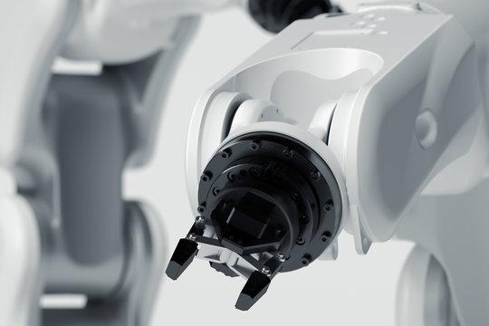 Robotic arm on white background. Mechanical hand manipulator. 3d rendering.