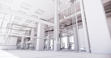 BIM model of internal engineering communications of the building Fototapete