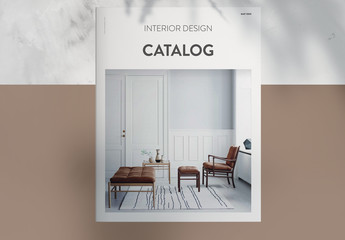 Interior Design Catalog Layout with Brown Accents