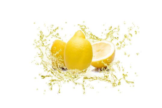 splash of juice lemon sliced on white background