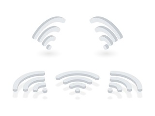 Fototapeta Isometric icons set of Wi-Fi signal. Wireless internet signal pictograms presented at different angles on white background obraz