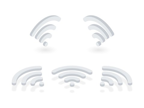 Isometric icons set of Wi-Fi signal. Wireless internet signal pictograms presented at different angles on white background