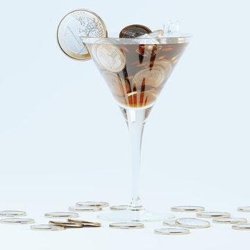 Money cocktail concept art 3D render