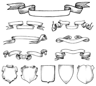 Ribbon labels ande Frame for national emblem. Heraldry in vintage style. Banners and templates for inscriptions and Coat of arms. Vector sketch Hand drawn.