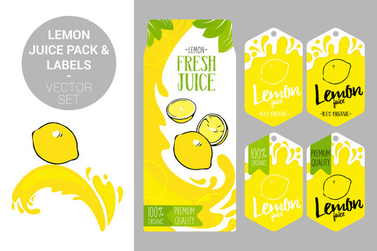 cartoon lemon on juice splash. lemon juice pack and organic fruit labels tags. Colorful tropical stickers. Juicy exotic fruit badges with splashes. Citrus Fruit vector package set for web, print.
