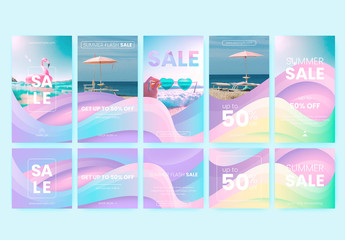 Set of 10 Social Media Posts and Stories Layouts With Pastel Gradient Background