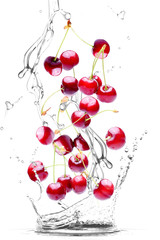 Foto op Canvas In het ijs splash of water and cherries isolated on white background