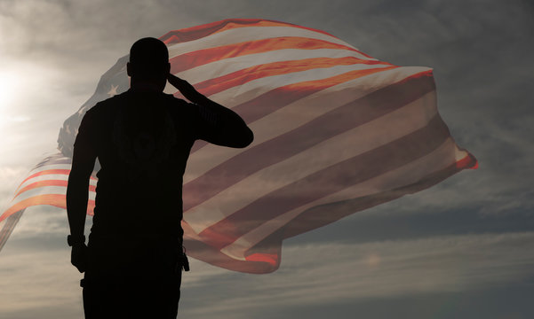 man with american flag