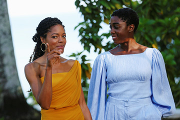 """Actors Naomie Harris and Lashana Lynch pose for a picture during a photocall for the British spy franchise's 25th film set for release next year, titled """"Bond 25"""" in Oracabessa"""