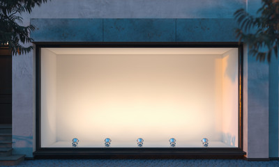Empty illuminated storefront. night time. 3d rendering. Copy space. Empty space. Wall mural
