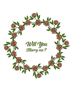Vector illustration artwork of wreath frame for decorative of will you marry me