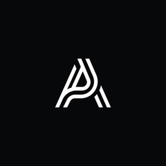 Contributor Outstanding professional elegant trendy awesome artistic black and white color AP PA initial based Alphabet icon logo.