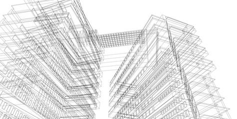 3D illustration architecture building perspective lines.