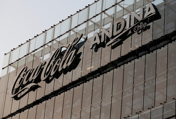 Coca Cola Andina Chile logo, is seen in its corporate building in Santiago