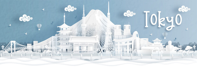 Fototapete - Panorama view of Tokyo city skyline with world famous landmarks of Japan in paper cut style vector illustration.