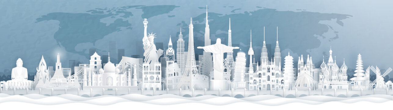 Panorama postcard and travel poster of world famous landmarks of Europe, Asia and America in paper cut style vector illustration