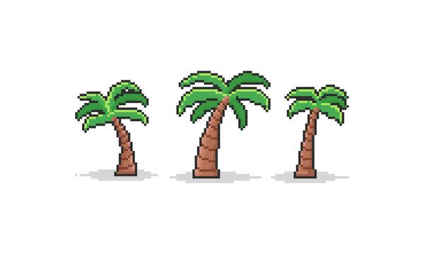 Pixel cartoon coconut tree set.8bit summer.